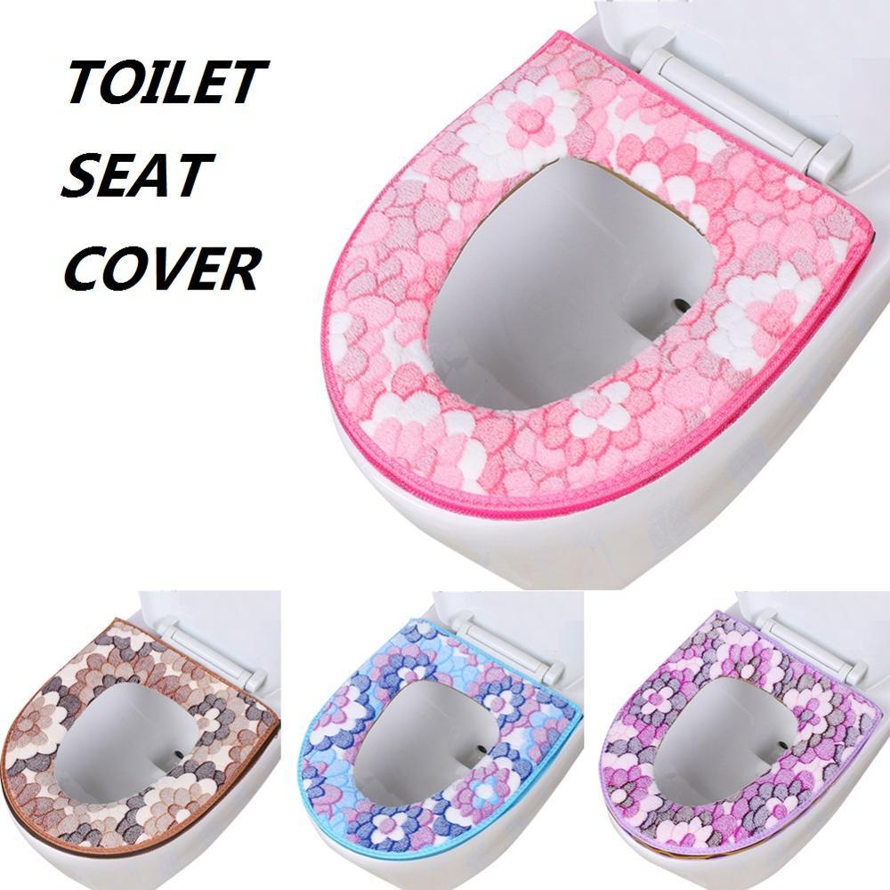 Домашняя зимняя плюшевая мягкая накладка на сиденье для унитаза, чехол на молнии для унитаза, зимние теплые аксессуары для ванной комнаты