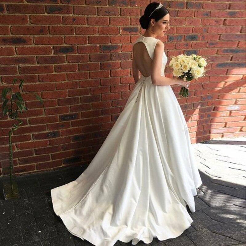 YiMinpwp Simple Wedding Dresses Deep V Neck Hollow Back Sweep Train Country Garden Bridal Gowns vestidos de novia Plus Size