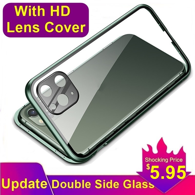 Tongdaytech Magnetic Tempered Glass Case With HD Lens Cover Metal 360 Protective Cover For Iphone SE2 XR XS 11 Pro MAX 8 7 Plus