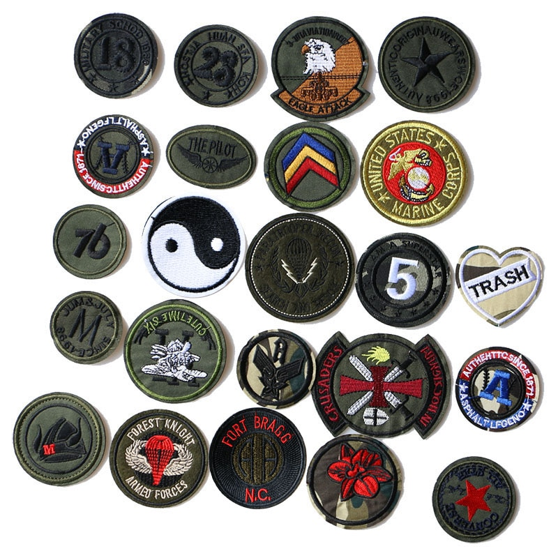 2 шт Круглые камуфляжные значки с цифрами, Бэтмен, буквы, звезды, медали нашивки DIY полосатая одежда Лоскутные наклейки на заказ значки