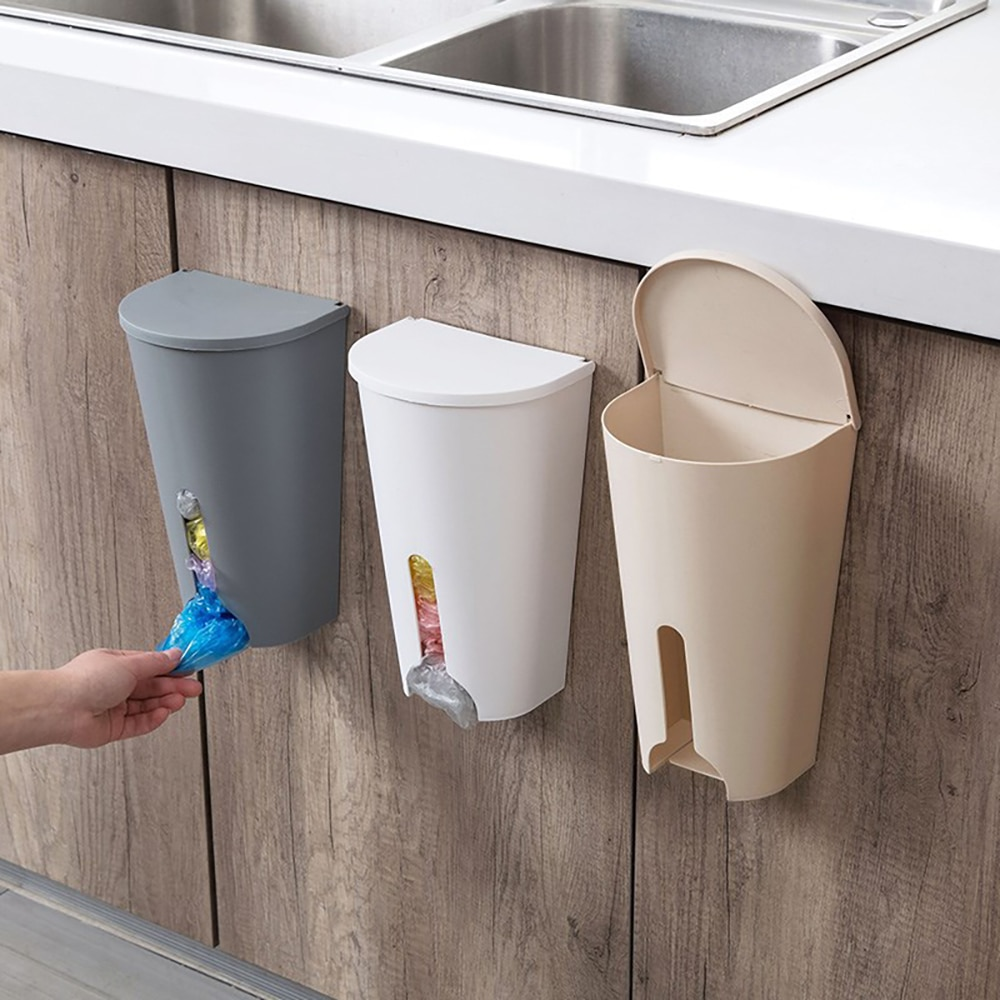 Prático casa sacos de lixo rack armazenamento cozinha quarto banheiro saco de lixo organizador caixa de armazenamento titular porta do armário caso