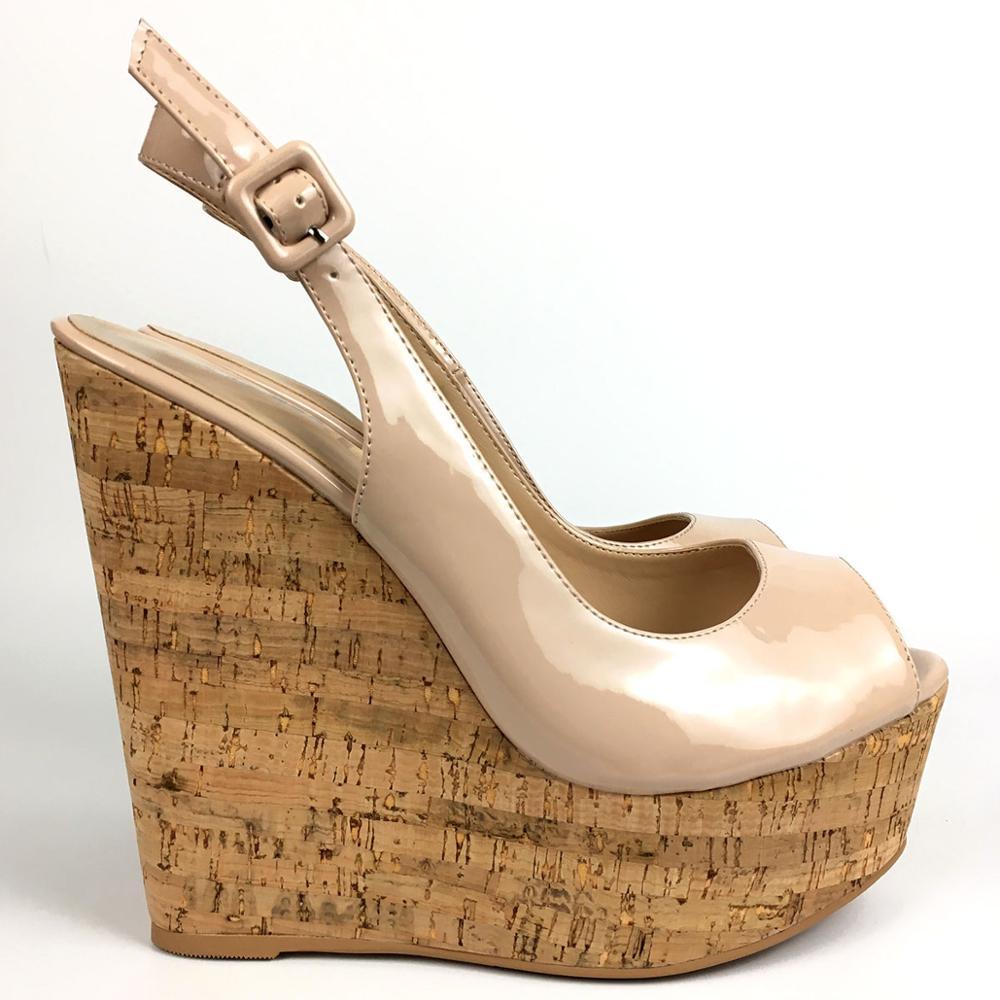 المرأة صندل خشبي Slingback اللمحة تو عالية الكعب أحذية منصة الفلين السيدات الصيف الربيع الكعوب مريحة موضة