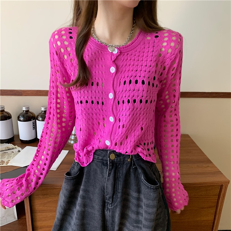 Autumn New Long Sleeve Knitted Shirt Hollow Out Cardigan Mujer Top Femme Korean Fashion Casual Slim Simple All Match Top Woman