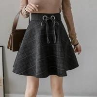 high quality new autumn pocket woolen blend winter shorts women fashion button plaid office work skirt retro women mini skirts