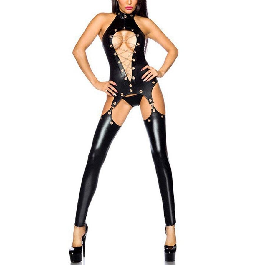 Sexy Látex Catsuit Pólo Trajes de Dança Mulheres Cueca Reunir Stripper Clubwear Peluches Lingerie Sexy Uniforme de Couro PU