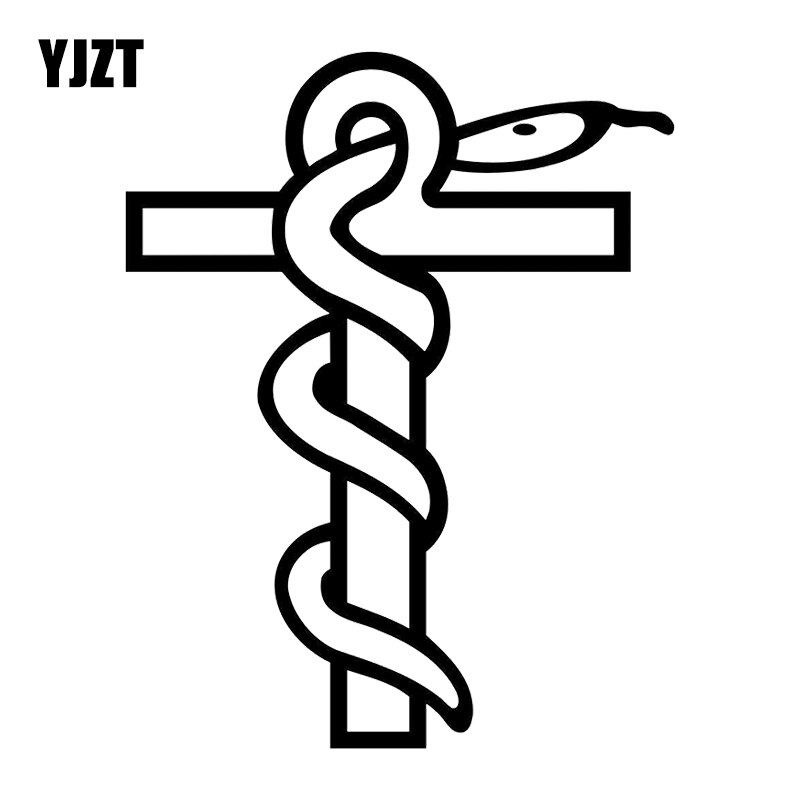 YJZT 13.3X16.9CM Snake Cross Funny Window Decoration Decal Cartoon Car Sticker Accessories C25-1226