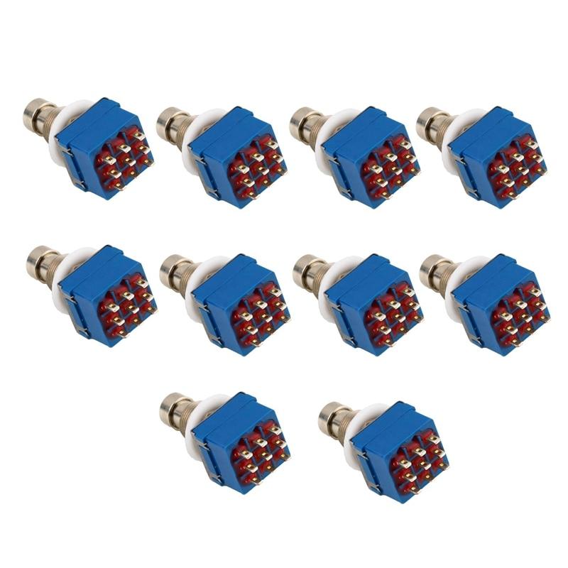 10 piezas 3Pdt 9 pines caja Stomp de efectos de guitarra Pedal del interruptor de pie Bypass verdadero Metal de plata + azul