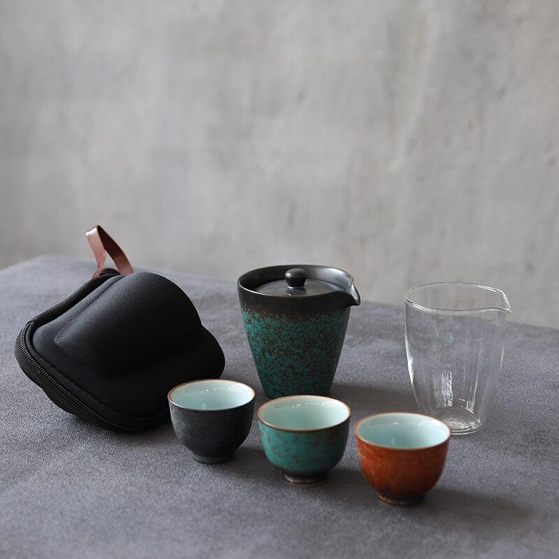 LUWU-إبريق شاي أخضر من السيراميك ، مع 3 أكواب ، طقم شاي محمول للسفر