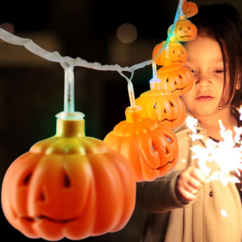 Linterna LED, luces para fiestas de Halloween, cadena Manual de luces DIY de calabaza, batería o USB 5V, estilo Ins, juguetes de luces decorativas