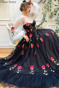 Black Evening Dress A-line Flowers Applique Tulle Long Illusion Sleeves O-neck Floor Length 2020 New Prom Dress вечернее платье
