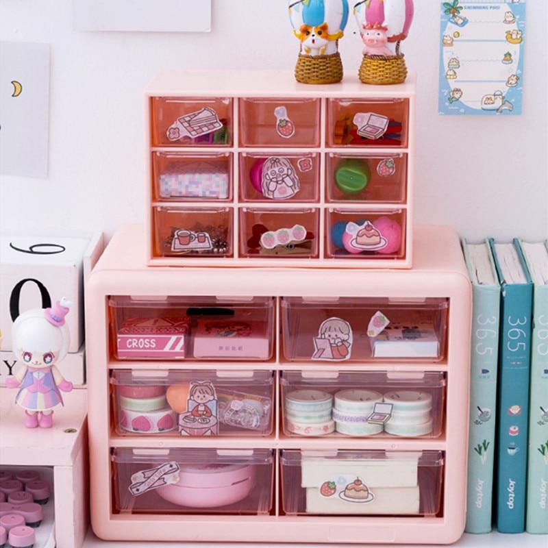 MINKYS Kawaii White/Pink 9 Grid ABS Drawer Desktop Organizer Desk Storage Box Free Sticker School Stationery Accessories