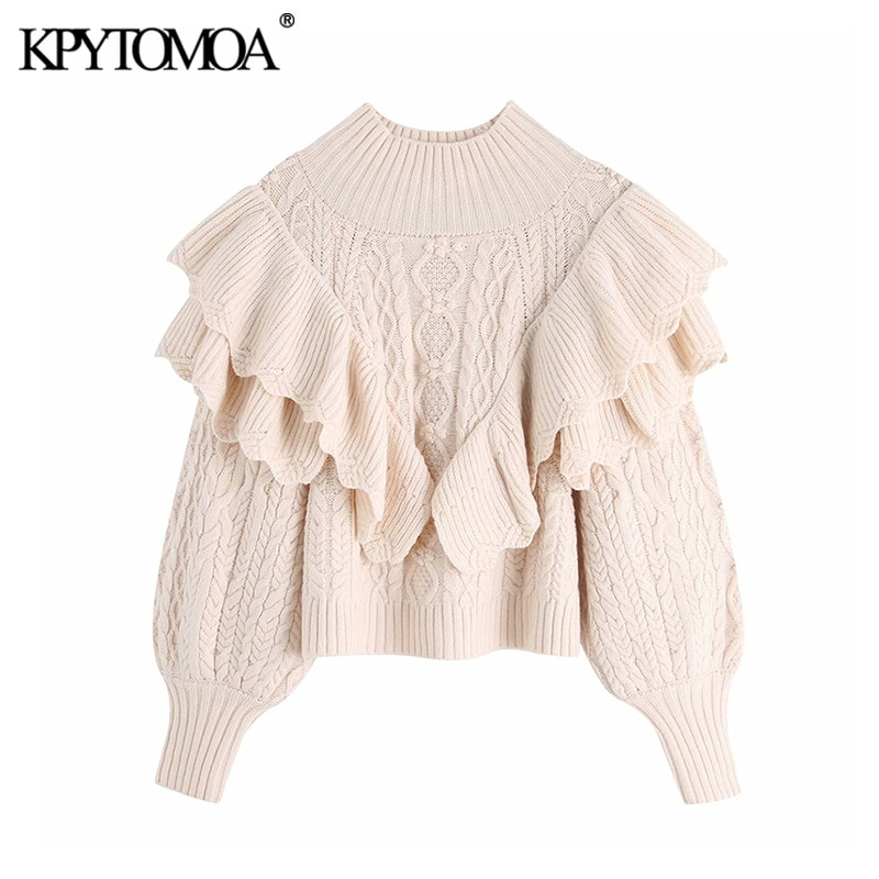 KPYTOMOA Women 2021 Fashion Ruffled Cropped Knitted Sweater Vintage High Neck Lantern Sleeve Female Pullovers Chic Tops