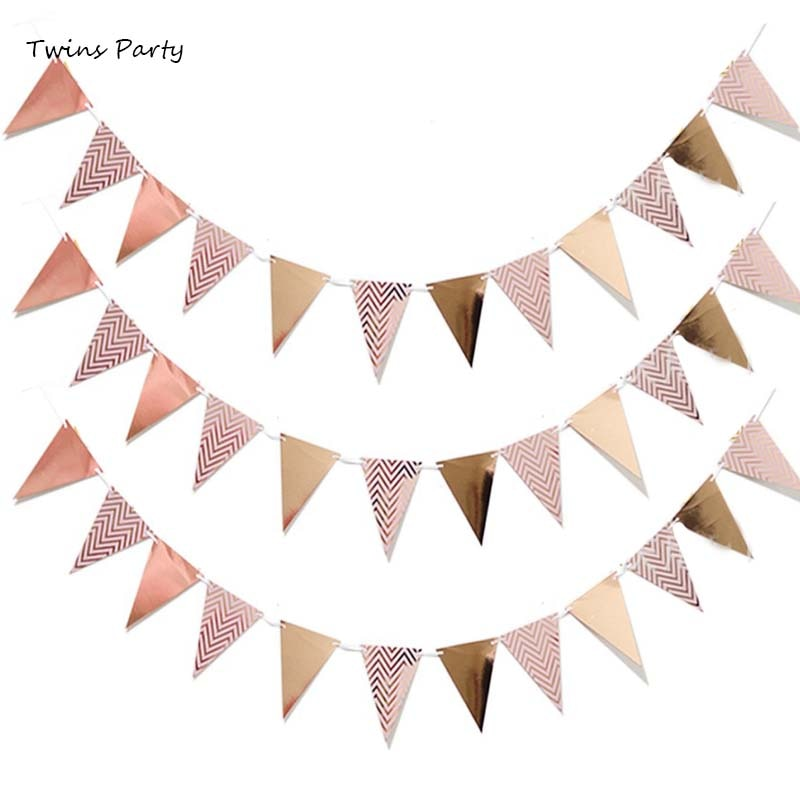 Twins Party Rose Gold Birthday Garlands Bunting Banners  Baby Shower Birthday Party Decoration Kids Wedding Decoration Party halloween pumpkin head happy carnival decoration candy bar bunting garlands party decor wedding babyshower wreath slingers