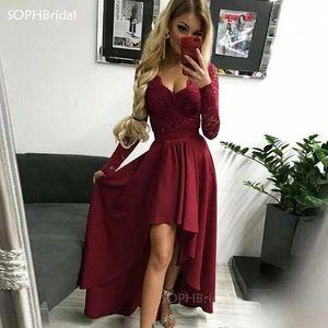 New Arrival Simple V Neck Evening Dresses High Low Burgundy Satin Prom Long Arabic Special Occasion Robe de Soirée Vestidos