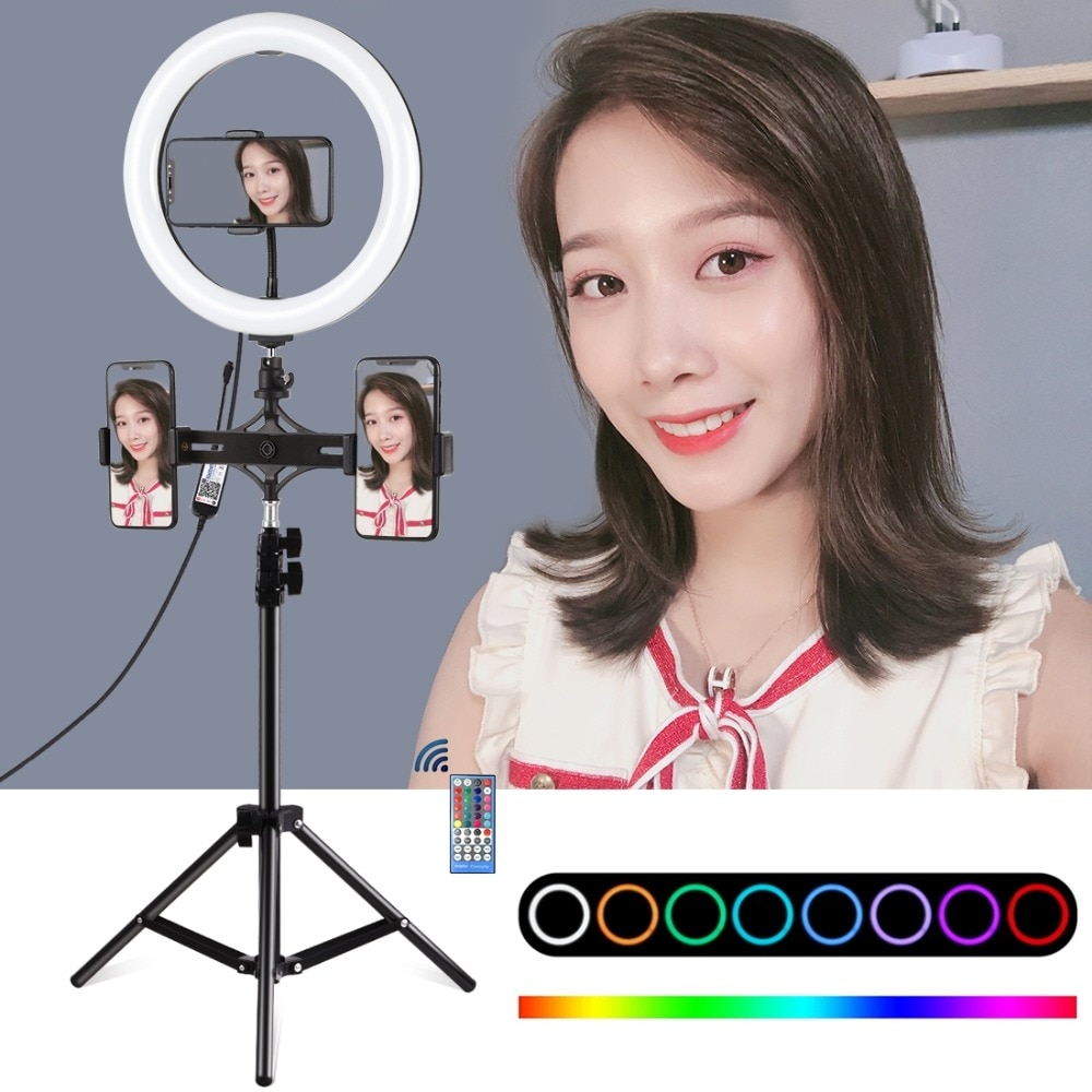 10,2/11,8 pulgadas RGBW regulable Anillo de luz LED y doble teléfono soportes de vídeo en directo kit de luz para YouTube Facebook Twitch belleza Blog
