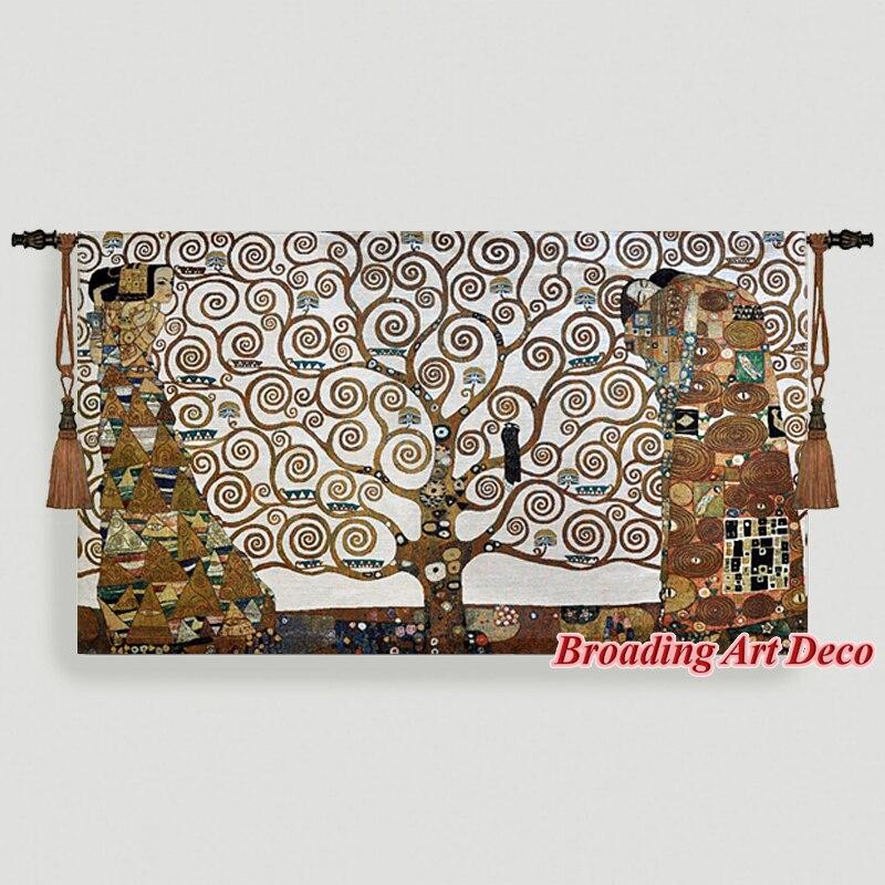 Gustav klimt Tree of Life (pełna wersja) Tapestry Wall Hanging pleciona żakardowa Gobelin artystyczna dekoracja do domu Aubusson Cotton 100%