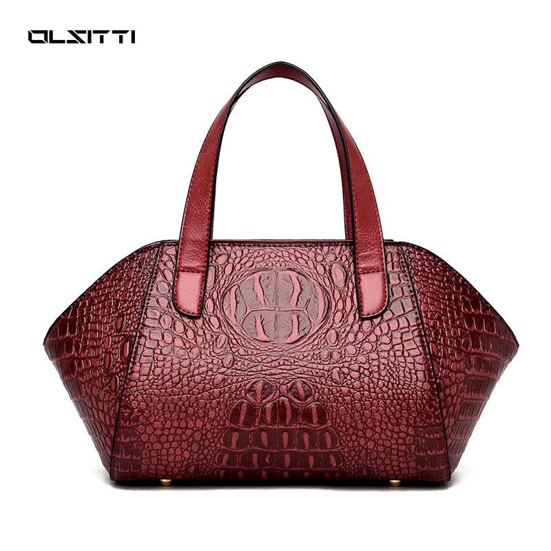 OLSITTI Fashion Luxury Women's Handbag High Quality Leather Crocodile Pattern Shoulder Bags Women 20