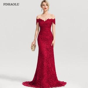 AE06 Burgundy Mermaid Evening Dresses Long Lace V-Neck Elegant Formal Party Gowns Vestidos Formatura Longo