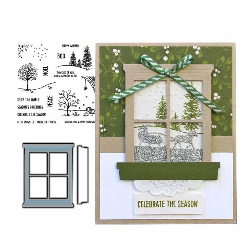 Stemple gumowe i wykrojniki do metalu świętuj sezon okno rękodzieło Scrapbook szablon do kartek wykonaj dekorację albumu 2019