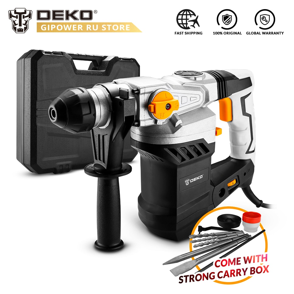 DEKO DKRH32LD1 2000W 220V Multifunctional Rotary Hammer BMC Box 6pcs Accessories Electric Demolition Hammer Impact Drill
