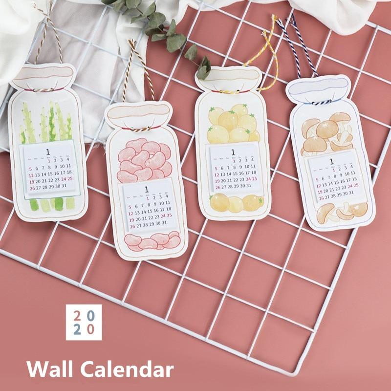 Calendario de gatos y frutas, 1 unidad, 2020, calendario de pared de dibujos animados DIY, calendario diario para hacer lista de papelería