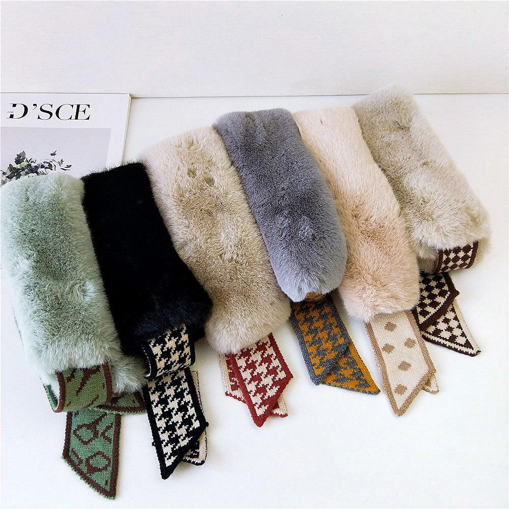 2020 новый осенне-зимний модный вязаный шарф с узором «гусиные лапки», женский шарф с воротником из искусственного меха, теплые шарфы для женщ...
