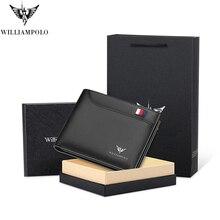 WILLIAMPOLO hommes portefeuille mince en cuir véritable Mini sac à main Design décontracté portefeuille marque de mode courte petite pochette cadeau 181342