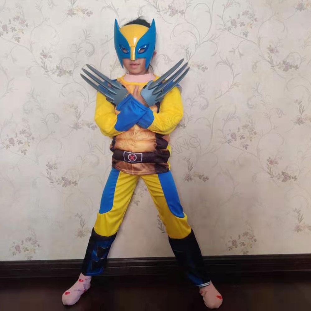 Movie  Iron Wolf  Costume Kids  Superhero Cosplay Party Fancy Dress Children Birthday Super hero Dress With Light Mask
