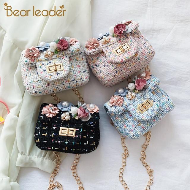 Bear Leader Spring Casual Mini Woolen Small Girl's Cross Body Bag Cute Brand Designer Children Shoulder Bag Kid's Accessories