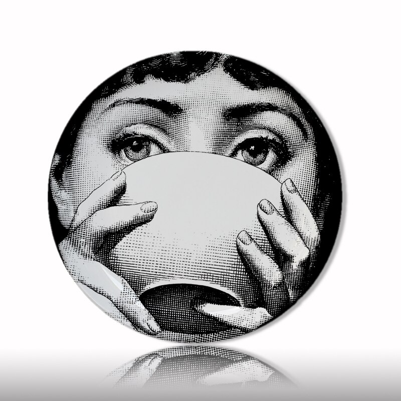 Moda superior milan lina rosto placas cor pura preto branco ilustração pendurado pratos de cerâmica sala amostra decoração do hotel para casa