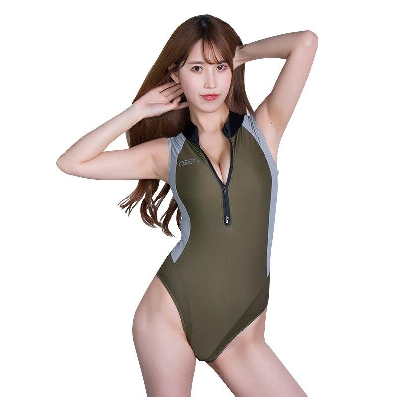 DROZENO Sexy leotard one piece high-cut stitching swimsuit Japanese swimsuit women's zipper shiny satin stitching tights