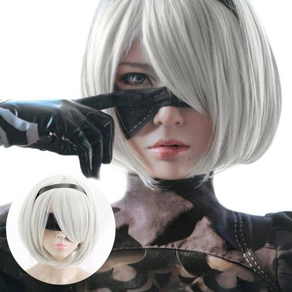 SHANGKE Straight White Cosplay Wig Anime Costumes Costume Party Synthetic Hair Wigs For Women YoRHa No.2 Type B 2BYoRH 2A 9S 2B