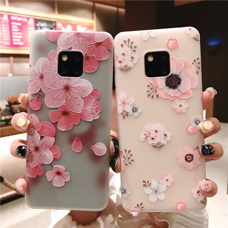Mate 20 Pro Case 3D Emboss Flower Phone Back Case Cover for Huawei P30 P10 P20 Pro Lite Mate 10 Nova 3E 4E Etui Soft TPU Coques