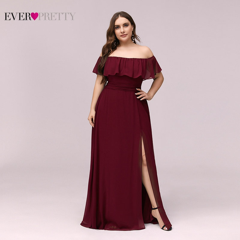 Burgundy Bridesmaid Dresses Pink Plus Size Ever Pretty Elegant A Line Off Shoulder Formal Dress For Wedding Party Maid Of Honor