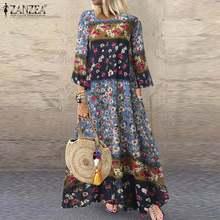 ZANZEA femmes Robe Vintage fleur imprimé Robe dété 3/4 manches robes de fête automne bohème longue Vestido coton Robe en lin