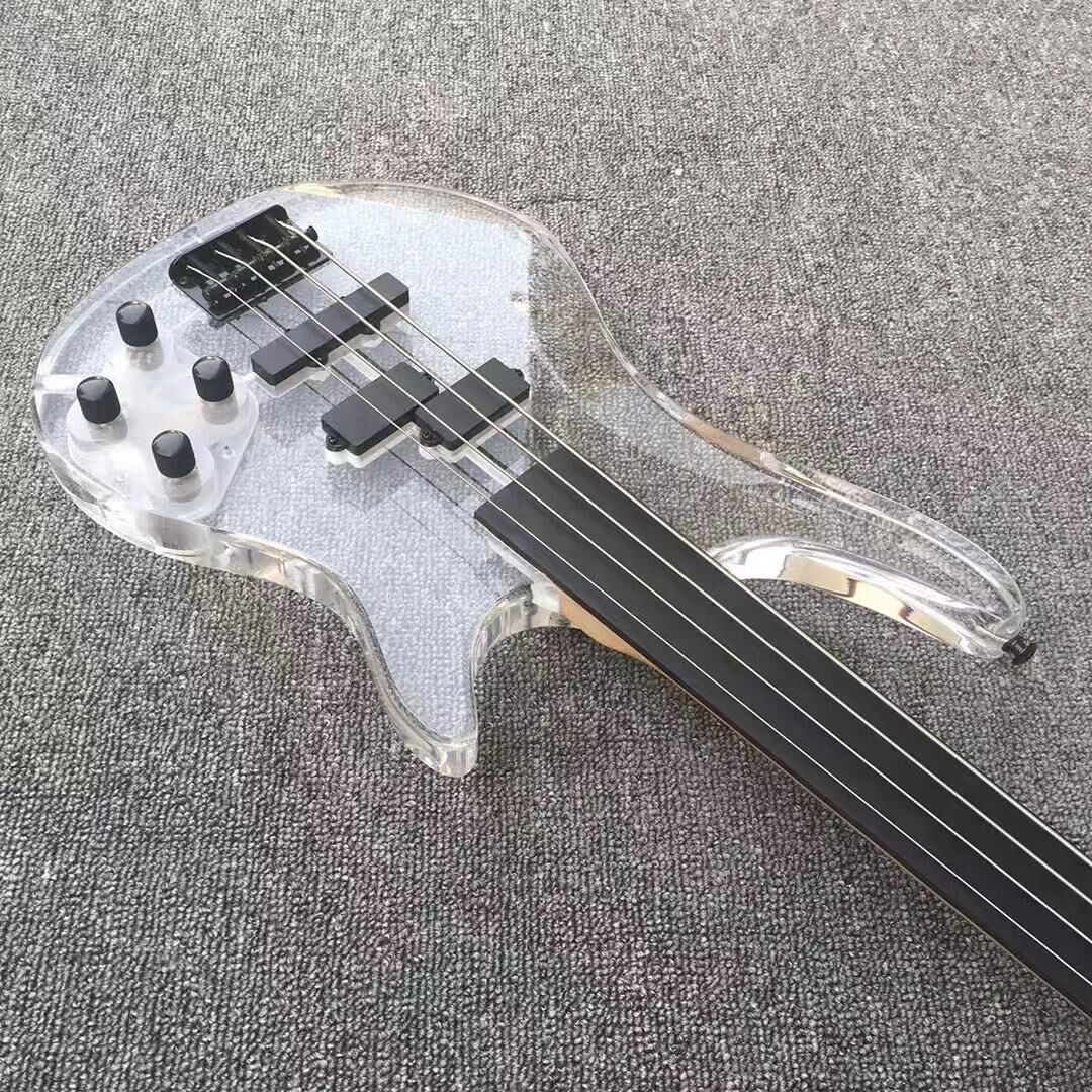 Good quality 4 four string acrylic electric bass guitar free shipping enlarge
