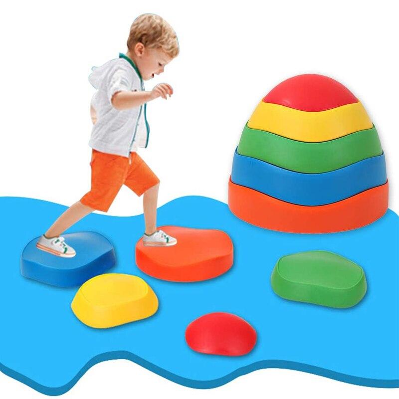 5Pcs escalada piedras equilibrio niños juegos de interior fuera de juguetes al aire libre deporte de los niños actividad