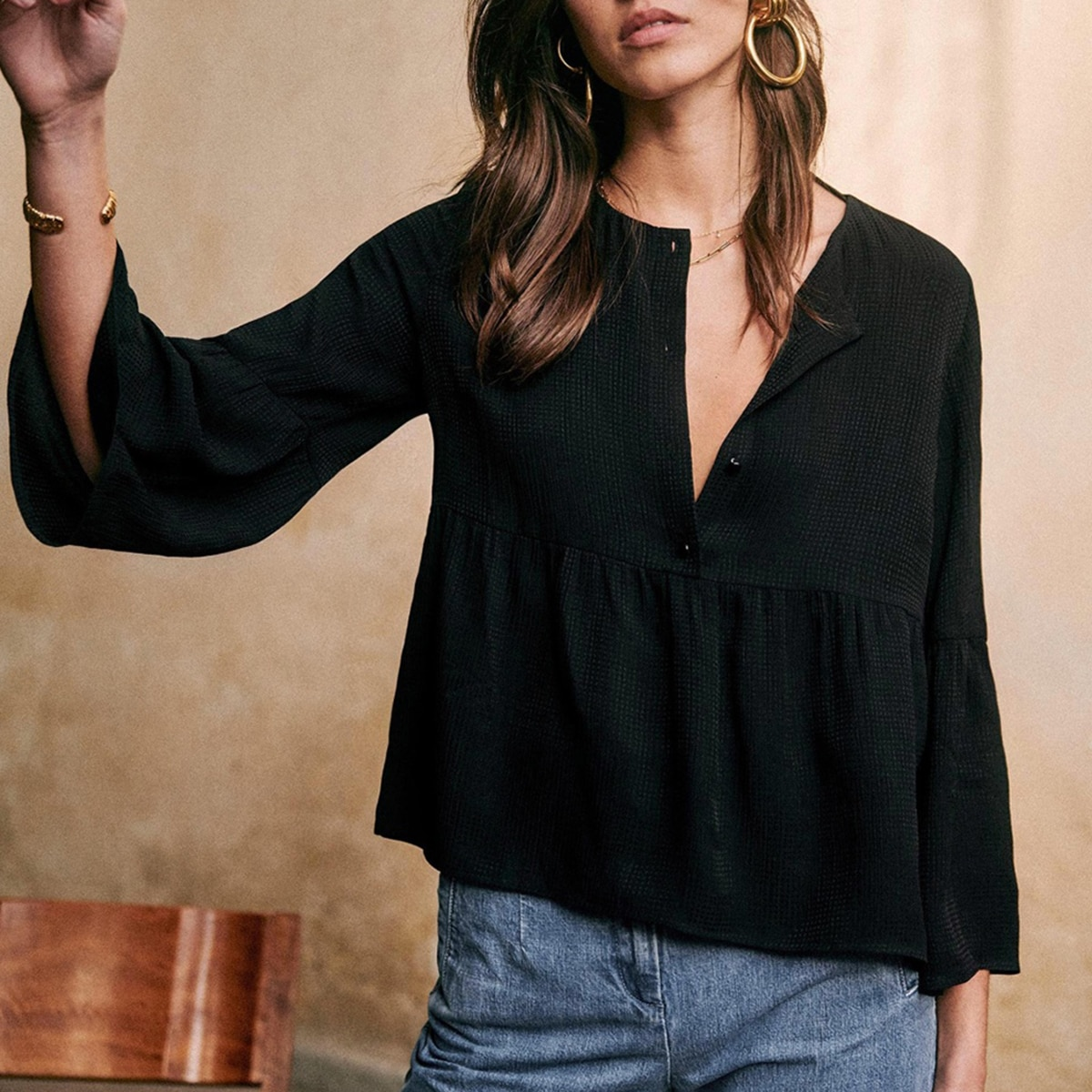 Maiwenn Black Blouse Women Spring Autumn Flare Sleeve V Neck Buttons Up Chic Casual Shirts Vintage Loose Tunic 2021 Tops Retro