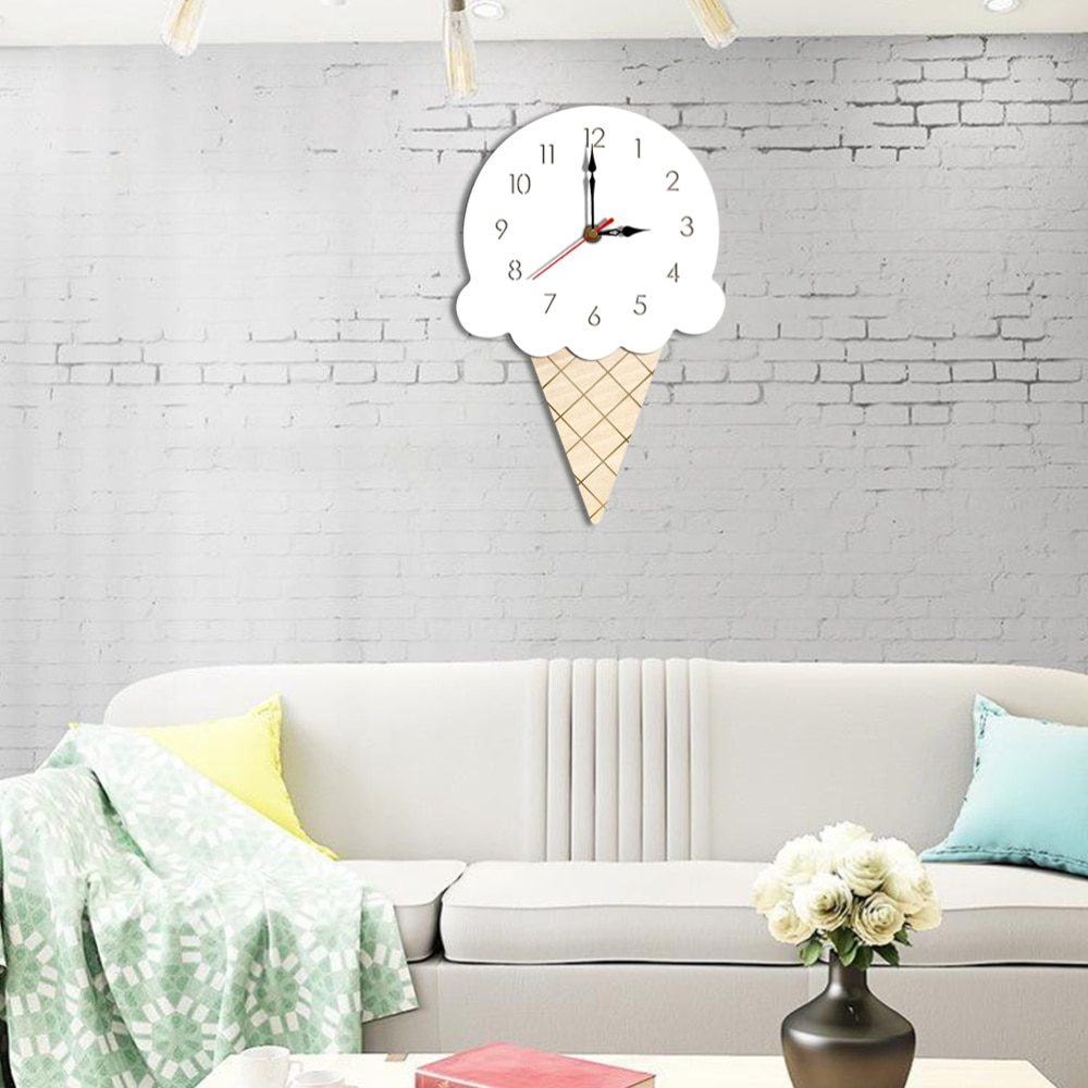 Cartoon Wall Clock Decoration Ice Cream Clock Acrylic Hanging Children Clock for Home Living Room Kindergarten (White)