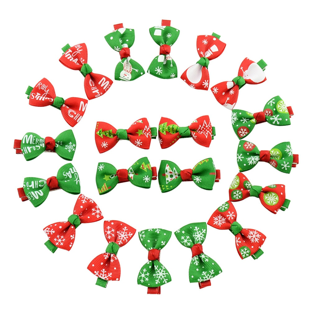 30/50 Pcs Christmas Pet Dog Hair Bows Alloy Clips Dog Hair Clips For Xmas Holiday Party Dog Grooming