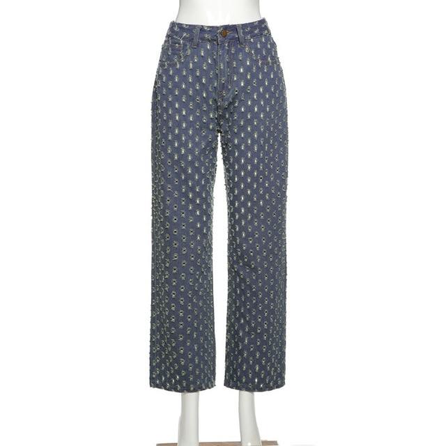 Y2K old jeans, high waist tear jeans, straight blue, hip hop style, retro, 90s street clothes, autumn 8