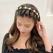 Unisex Pearl Rhinestone Hairbands Double Bangs Hair Clips Hairstyle Make Up Hairpins Sports Headband Hair Accessories 2021
