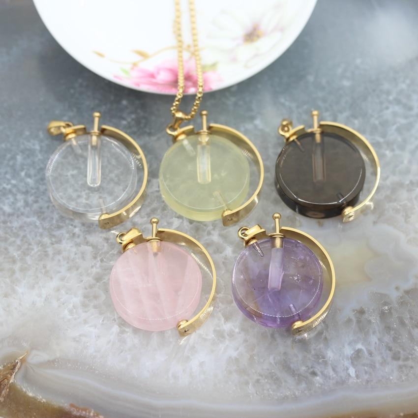 Вращающаяся круглая монета флакон духов Подвески ожерелье, натуральные камни Золотая цепь с кристаллом ювелирные изделия аксессуары оптом