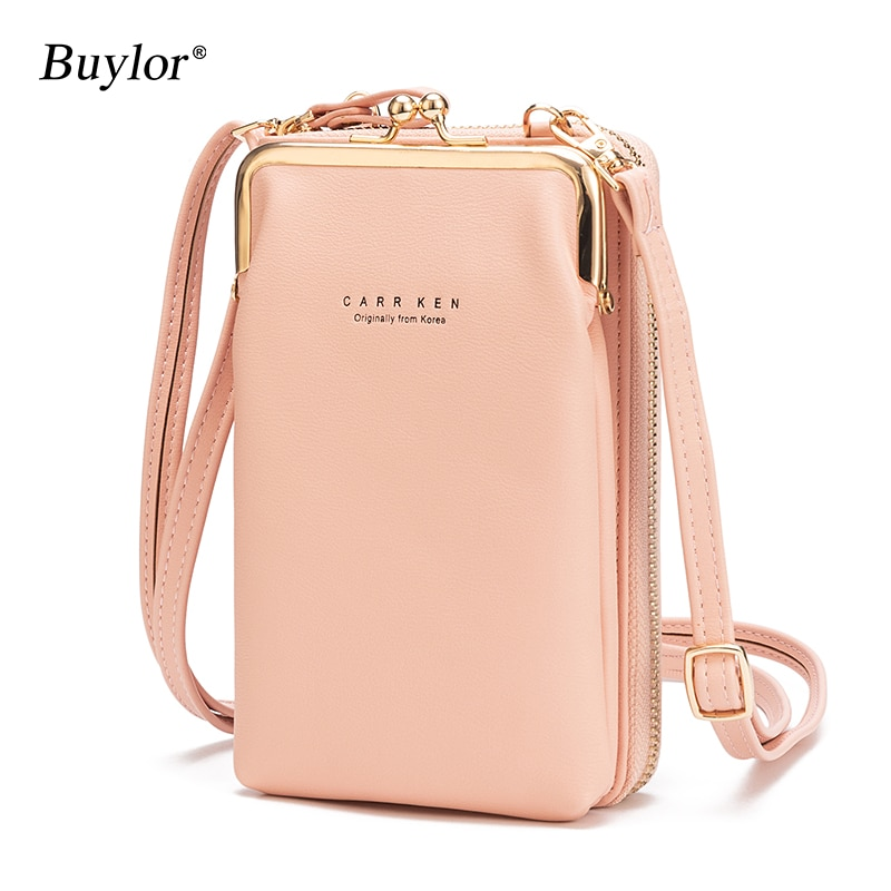 Buylor Women's Phone Crossbody Bags Girls PU Leather Large Capacity Portable Shoulder Bag Brand Ladies Purse Fashion Handbag