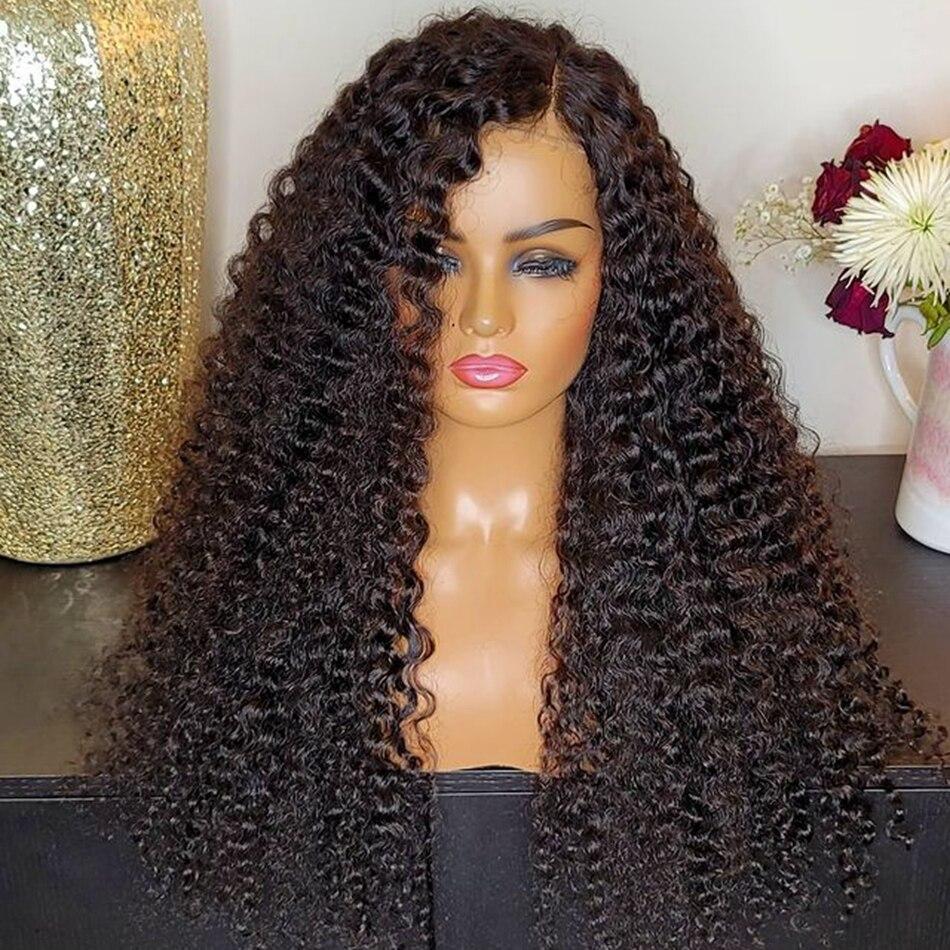 180% плотность, 26 дюймов, длинный кудрявый, синтетический парик на шнуровке спереди для чернокожих женщин, предварительно выщипанный, косплей...