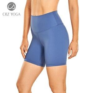 "CRZ YOGA Women's Naked Feeling Biker Shorts  - 6"" High Waist Yoga Workout Running Shorts"