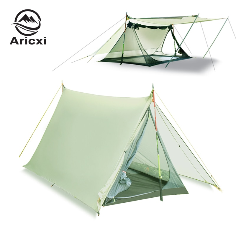 20D النايلون 2 شخص خيمة مزدوجة الجانب سيليكون المغلفة جدا ضوء الشاطئ المظلة Oudoor Rainfly قماش القنب خيمة
