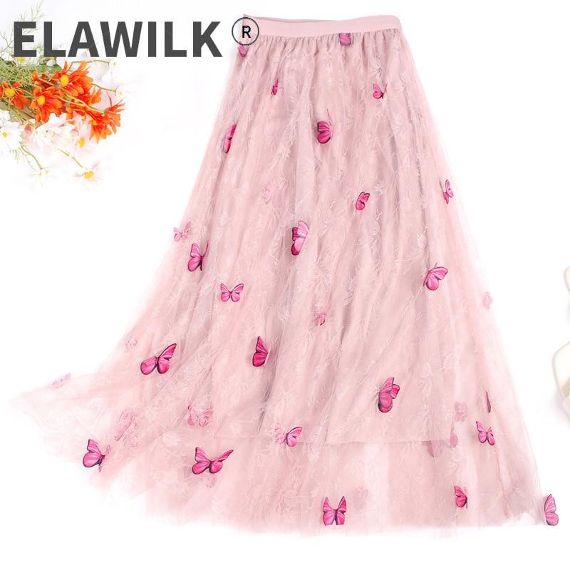 الوردي فراشة يزين تنورة دانتيل المرأة لطيف الأميرة الحجاب المرحلة مطوي حفلة تنورة طويلة ملابس حريمي