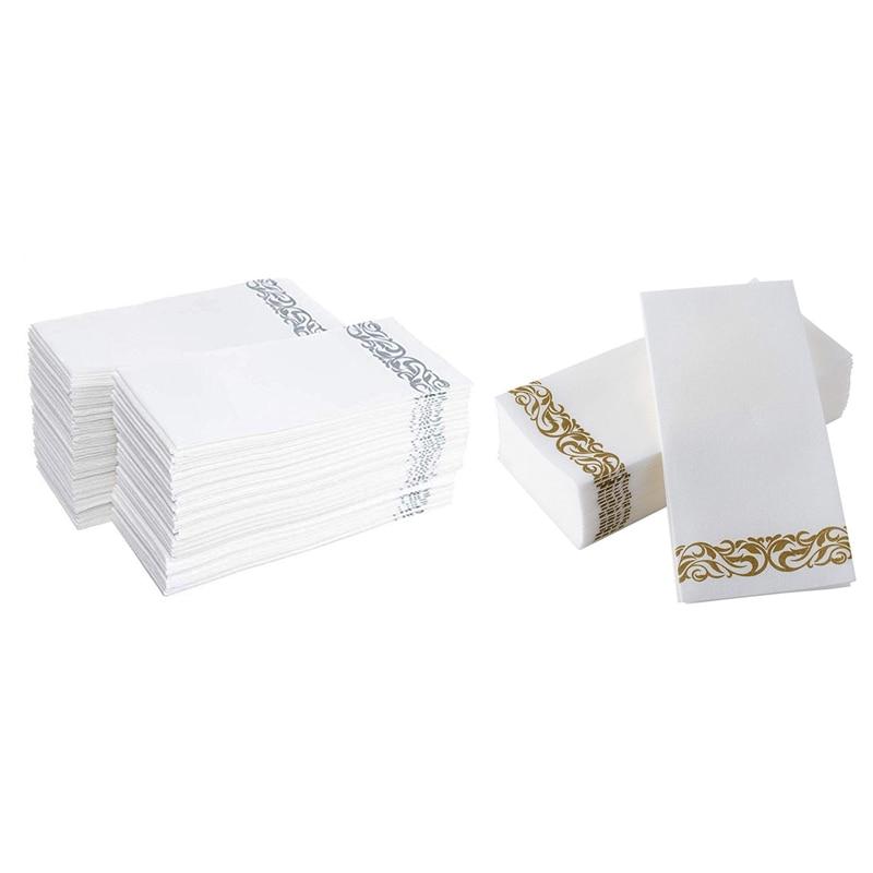 100 Uds toallas desechables para manos servilletas de papel para baño Fiesta de bodas servilletas de Hotel papel suave y absorbente papel aireado invitado a