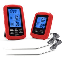 RF:70m Wireless Thermometer Dual Temperature Double Needles Oven BBQ Grilling Barbecue Kitchen Thermometer With Timer Alarm